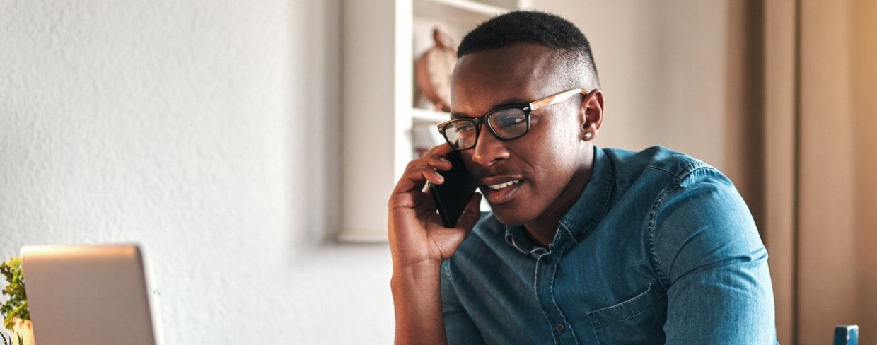 Employee taking customer call from home