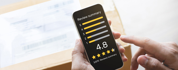 Customer reviewing business on smartphone